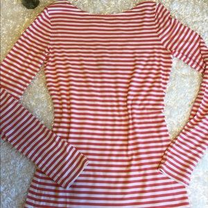 Trouve Scoop-Back Long Sleeve Striped Top